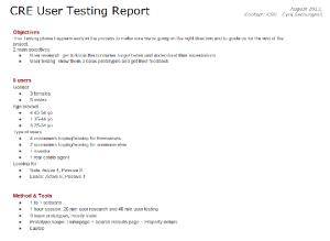 User Testing report
